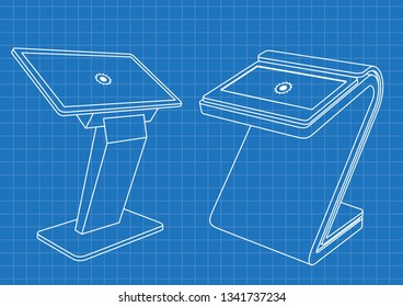 Blueprint of Two Promotional Interactive Information Kiosk, Advertising Display, Terminal Stand, Touch Screen Display. Mock Up Template.