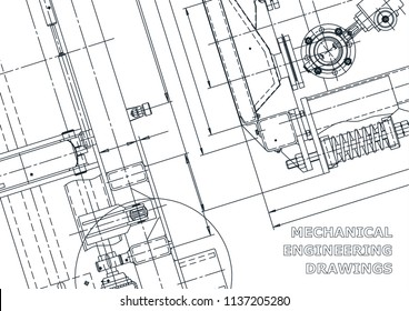 Blueprint. Vector engineering drawings. Mechanical instrument making. Technical abstract backgrounds