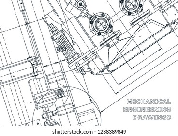 Blueprint. Vector engineering drawings. Mechanical instrument making. Technical abstract backgrounds. Technical illustration, cover, banner