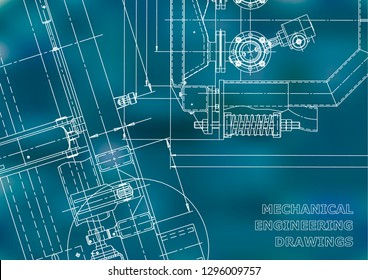 Blueprint. Vector engineering drawings. Mechanical instrument making. Technical Blue background