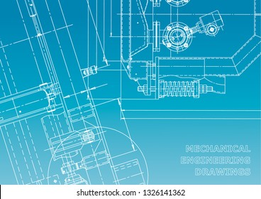 Blueprint. Vector engineering drawings. Mechanical instrument making. Technical abstract background. Blue and white