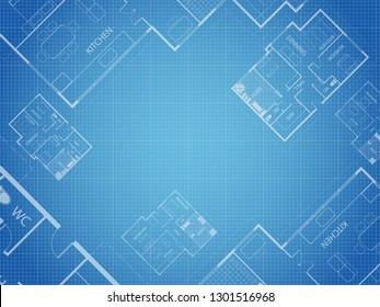 Blueprint vector floor plan apartment. Professional house placement furniture. With bedroom, kitchen, dressing room, toilet. Illustration of the architectural solution of apartment interior