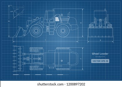 Blueprint of wheel loader. Top, side and front view. Diesel digger. Hydraulic machinery image. Industrial document of bulldozer. Vector isolated illustration