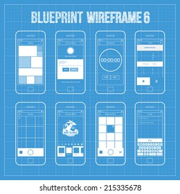 Blueprint wireframe mobile app ui kit  6. Gallery screen, voice memos screen, stopwatch screen, timer screen, camera screen, choose effect screen, photo archive screen, e-mail screen.