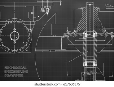 Blueprints. Engineering backgrounds. Mechanical engineering drawings. Cover. Banner. Technical Design. Black. Grid