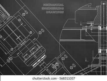 Blueprints. Mechanical construction. Technical Design. Cover. Banner. Black. Grid