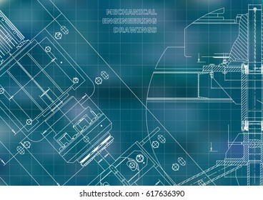 Blueprints. Mechanical construction. Technical Design. Cover. Banner. Blue. Grid
