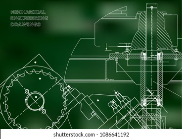Blueprints. Mechanical drawings. Engineering illustrations. Technical Design. Banner. Green background