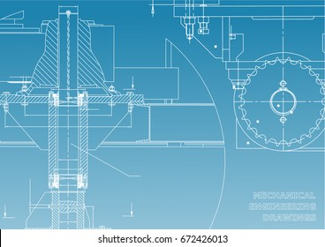 Blueprints. Mechanical engineering drawings. Cover. Banner. Technical Design. White and blue