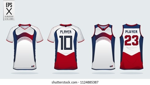 Blue-Red-White sport shirt design template for soccer jersey, football kit and tank top for basketball jersey. Sport uniform in front and back view. T shirt mock up for sport club. Vector.