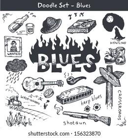 Blues music icon set. Doodle style.