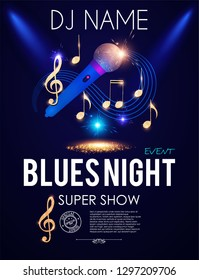 Blues Night. Microphone, Gold Shining Notes and Swirling Stave. Music Poster Design Template. Vector illustration