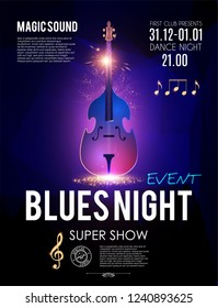 Blues Night. Music Concert Toster Template with Double Bass and Light Effects.Vector illustration