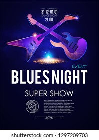 Blues Night. Music Concert Toster Template with Guitar and Light Effects. Vector illustration