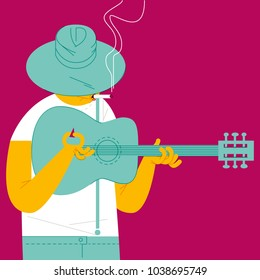 BLUESMAN. GUITAR AND CIGARETTE, Series of funny illustrations with cool musicians and instruments.