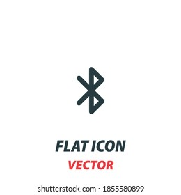 bluetooth icon in a flat style. Vector illustration pictogram on white background. Isolated symbol suitable for mobile concept, web apps, infographics, interface and apps design.
