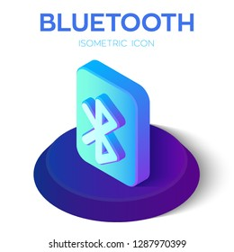 Bluetooth Isometric Icon. 3D Isometric Bluetooth Sign. Created For Mobile, Web, Decor, Print Products, Application. Perfect for web design, banner and presentation. Vector Illustration.