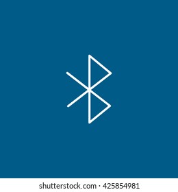 Bluetooth Line Icon On Blue Background
