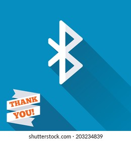 Bluetooth sign icon. Mobile network symbol. Data transfer. White flat icon with long shadow. Paper ribbon label with Thank you text. Vector