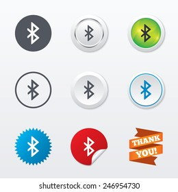Bluetooth sign icon. Mobile network symbol. Data transfer. Circle concept buttons. Metal edging. Star and label sticker. Vector