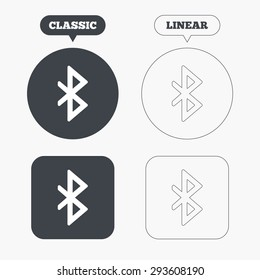 Bluetooth sign icon. Mobile network symbol. Data transfer. Classic and line web buttons. Circles and squares. Vector