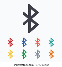 Bluetooth sign icon. Mobile network symbol. Data transfer. Colored flat icons on white background.