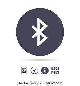 Bluetooth sign icon. Mobile network symbol. Data transfer. Report document, information and check tick icons. Currency exchange. Vector