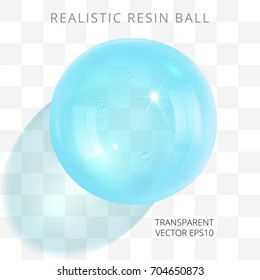 Bluish green aquamarine transparent resin jewel. Vector 3d realistic drop of cyan epoxy. Fashionable glossy artificial bead. Perfect closeup sphere with a translucent shadow on a checkered background.