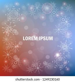 Blur blue, red, snowflakes background, Lorem Ipsum design element stock vector illustration for web, for print