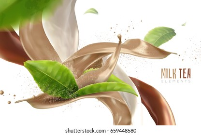 blur flying green leaves and beverage flows, realistic 3d illustration