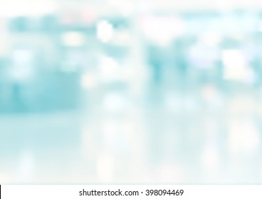 Blur inside building with bokeh light background. Vector illustration eps 10.