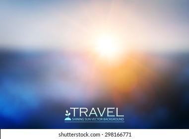 Blur landscape & shining sun background. Abstract clowd design. Flying. Vector illustration