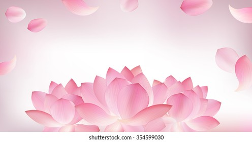 Blur pink panoramic background with pink petal of lotus and flower editable on blur background
