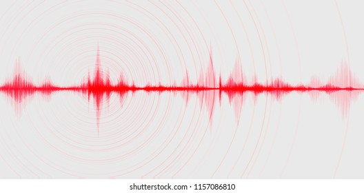 Blur Red Digital Sound Wave Low and Hight richter scale with Circle Vibration on white Background,technology and earthquake wave diagram and  Moving heart concept,design for music studio and science,V