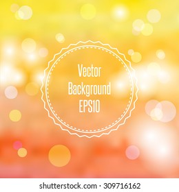 Blurred autumn / fall abstract background in light pastel colors with bokeh copyspace for your text. Vector Illustration EPS10.