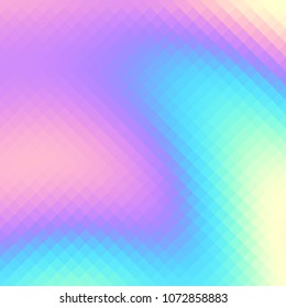 Blurred background. Geometric abstract pattern in low poly style. Effect of a glass. Holographic colors. Vector image.