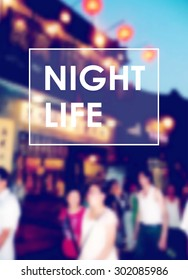 Blurred background with people in chinese town, urban night life, motion city concept, vector illustration background