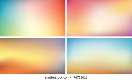 Blurred background set, 16:9 abstract vector wallpaper for webdesign
