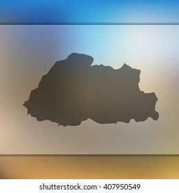 Blurred background with silhouette of Bhutan map. Vector silhouette of Bhutan map