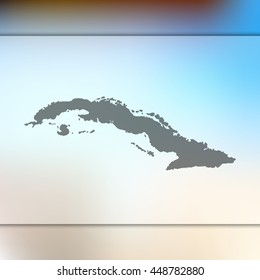 Blurred background with silhouette of Cuba map. Vector silhouette of Cuba map