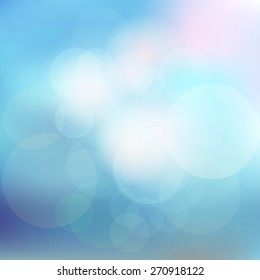Blurred background. Vector illustration in blue and mint colors with bokeh effect. Fine template for motivational text, cover design or web design.