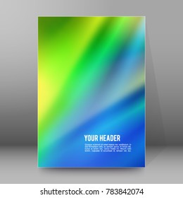 Blurred blue green glowing background with rays lines light with space for your message. illustration for design presentation, brochure layout page, cover book or magazine