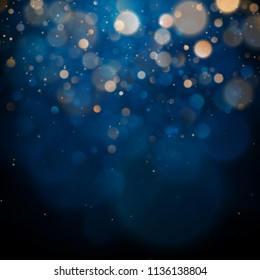 Blurred bokeh light on dark blue background. Christmas and New Year holidays template. Abstract glitter defocused blinking stars and sparks. EPS 10