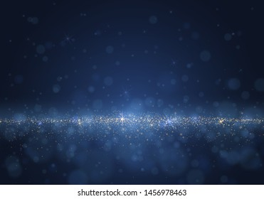 Blurred bokeh light on dark  background. Christmas and New Year holidays template. Abstract glitter defocused blinking stars and sparks. EPS 10 Vector