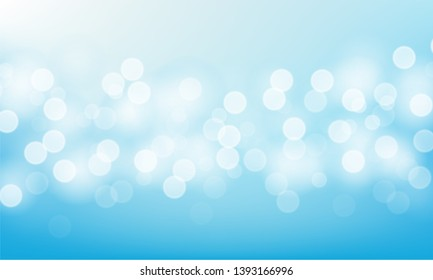 Blurred bright abstract bokeh on blue background. Vector illustration.