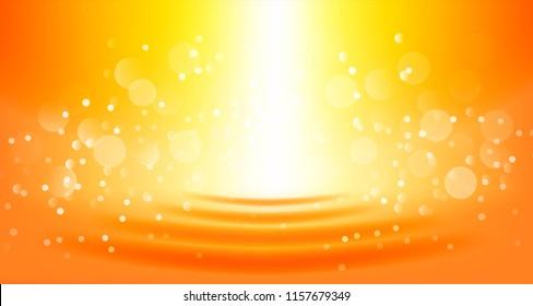 Blurred bright bokeh on water orange  background. Vector illustration.