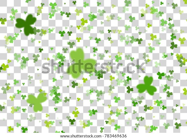 Blurred defocused Vector illustration. Greeting happy St. Patricks day holiday. Green clover random size falling shimmer transparent background. Irish sign and symbol happy luck.