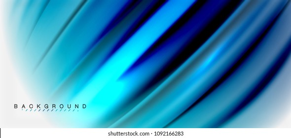 Blurred fluid blue colors background, abstract waves lines, mixing colours with light effects on light backdrop. Vector artistic illustration for presentation, app wallpaper, banner or posters