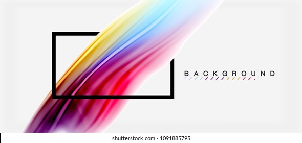 Blurred fluid colors background, abstract waves lines, mixing colours with light effects on light backdrop. Vector artistic illustration for presentation, app wallpaper, banner or posters