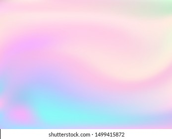 Blurred hologram texture gradient wallpaper. Vivid pastel rainbow unicorn background. Hologram colors liquid background. Refulgent hologram neon glitch texture vector backdrop.